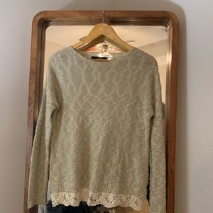 Forever 21 Tan Sweater with Lace Trim - size small